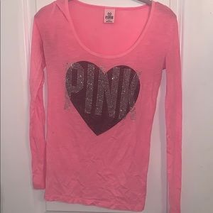 Long Sleeved Neon Pink Top w/ Sparkly Heart